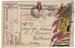 CARTOLINA POSTALE ITALIANA IN FRANCHIGIA - CORRISPONDENZA DEL R. ESERCITO - POSTA MILITARE - COMPAGNIA MITRAGLIATRICI - War 1914-18