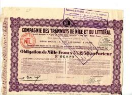 LT4 , LOT DE 3 TITRES Alpes Maritimes , Compagnie Des Tramways De Nice Et Du Littoral - Chemin De Fer & Tramway