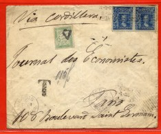 CHILI LETTRE TAXEE DE 1908 POUR PARIS FRANCE - Chili