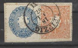 Sachsen - 1863 - Usato/used - Stemma - Mi N. 15+17 - Sachsen