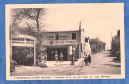 CPA - VILLERVILLE Sur MER - Carrefour Rue Des Poilus - Garage Automobile Roland Chéron - Pompe à Essence - France
