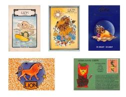 LION  - Lot De 5 CPM - HOROSCOPE ASTROLOGIE -  Signe Du Zodiaque -  Dos Vierge - 10 Scans - Astrologie