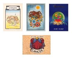 CANCER  - Lot De 4 CPM - HOROSCOPE ASTROLOGIE -  Signe Du Zodiaque -  Dos Vierge - 8 Scans - Astrologie