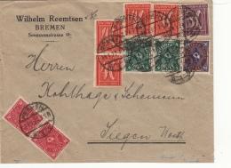 Lettre CaD Bremen >> Bel Affranchissement 1923