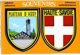AUTOCOLLANT PLATEAU D'ASSY HAUTE SAVOIE SUR CARTE POSTALE - Stickers