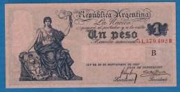 ARGENTINA 1 PESO L. 20.09.1897 LETTER B P# 243 Signatures: Meyer Arana & Basualdo - Argentine