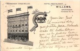 GRONINGEN - HOTEL RESTAURANT WILLEMS - PILSENER URQUELLE - USED STAMP 1913 NETHERLANDS (2 SCANS) - Groningen