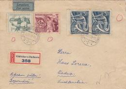 Lettre Recommandé CaD Oldrichov U Duchcova Pour La Suisse 1949 - Tchécoslovaquie