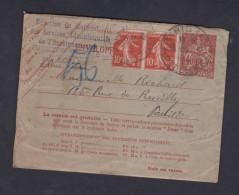 Enveloppe Pneumatique Entier Telegraphe Type Chaplain 40c Complété 2 Semeuse 135 10 C Vers Paris Reuilly - Entiers Postaux