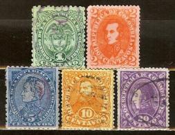 COLOMBIA 1886.09.01 [Sc129A40:134A44-1] Escudo Y Efigies - Colombia