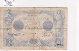 Billet De 5 Francs Bleu Du 14/09/1915 BALANCE - A.7778 Alph 910 @ N° Fayette : 2.31 - 1871-1952 Circulated During XXth
