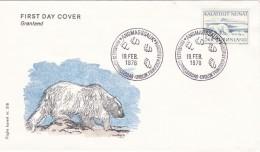 ARCTIC OSO POLAR BEAR OURS POLAIRE EISBÄR - GREENLAND GRÖNLAND GROENLAND 1976 FDC MI 98 - Bears