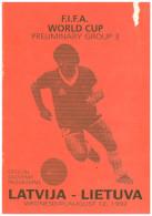 Programme Football 1992 Latvia (Soviet Union) V Lithuania UEFA WCQ - Books