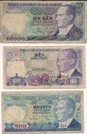 Lotto Di N. 3 Banconote  Da   500 - 1000 - 10000 TURK LIRASI - Turchia