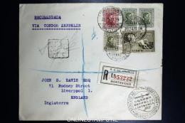 Graf Zeppelin 4. Sudamerikafahrt Sieger 263  Mixed Stamps.  Registered Cover Montevideo  To Liverpool UK - Uruguay