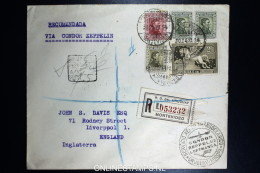 Graf Zeppelin 4. Sudamerikafahrt Sieger 263  Mixed Stamps.  Registered Cover Montevideo  To Liverpool UK
