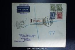 Graf Zeppelin 8. Sudamerikafahrt Sieger 275 C  Mixed Stamps. Registered Cover Montevideo  To Liverpool UK