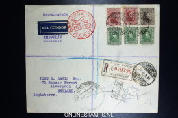 Graf Zeppelin 10. Sudamerikafahrt Sieger 281 C  Mixed Stamps. Registered Cover Montevideo  To Liverpool UK - Uruguay