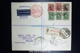 Graf Zeppelin 10. Sudamerikafahrt Sieger 281 C  Mixed Stamps. Registered Cover Montevideo  To Liverpool UK