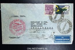 Graf Zeppelin 1. Sudamerikafahrt Sieger 248 Mixed Stamps.  Cover Rio  To Birmingham UK - Luchtpost