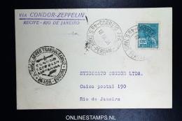 Graf Zeppelin 8. Sudamerikafahrt Sieger 275 D   Recife  To Rio - Luchtpost