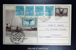 Graf Zeppelin 7. Sudamerikafahrt Sieger 272 A  Uprated Postal Stationary Recife  To Liverpool - Luftpost
