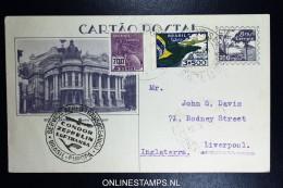 Graf Zeppelin 10. Sudamerikafahrt Sieger 281 A Uprated Postal Stationary Recife  To Liverpool - Luftpost