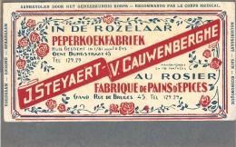 Gent / In De Rozelaar... Peperkoekfabriek / J. Steyaert - V. Cauwenberghe. Kartonreclame 20,5cm X 10,5cm. - Reclame