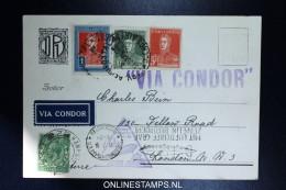 Graf Zeppelin 3. Sudamerikafahrt Sieger 252 A  Buenos Aires To London, Extra Stamp From UK .Deutscher Philatelisten Ver. - Poste Aérienne