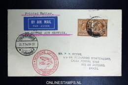 Graf Zeppelin 4. Sudamerikafahrt  1934 Sieger 260   Norwich To Rio  Vertragsstaatenpost - 1902-1951 (Könige)