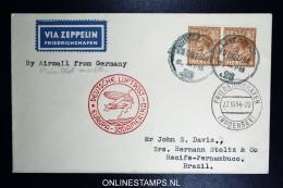 Graf Zeppelin 11. Sudamerikafahrt  1934 Sieger 283   Liverpool To Recife  Vertragsstaatenpost - 1902-1951 (Könige)