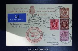 Graf Zeppelin 10. Sudamerikafahrt  1934 Sieger 280 Rotherham To Recife/Pernambuco  Vertragsstaatenpost Uprated Postcard - 1902-1951 (Könige)