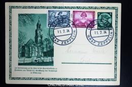 Graf Zeppelin Kurzfahrt In Die Schweiz 1934, Bordpost Sieger 259 I / 259I, Small Tear At Top Uprated Postkarte - Luchtpost