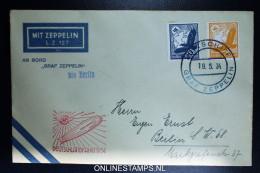 Graf Zeppelin LZ 127 1934, Deutschlandfahrt, Bordpost Bis Berlin Auf Offiziellen Bordpostumsclag Sieger 246 - Posta Aerea