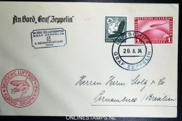 Graf Zeppelin LZ 127 1934, 6. Südamerikafahrt Sieger 268 Ab Bordpost + Bordstempel - Luftpost