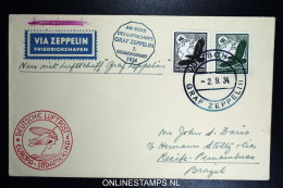 Graf Zeppelin LZ 127 1934, 7. Südamerikafahrt Sieger 271 Ab  Bordpost + Bordstempel - Luchtpost