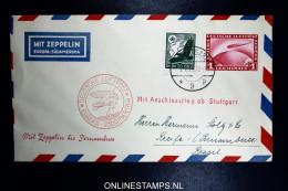 Graf Zeppelin LZ 127 1934, 7. Südamerikafahrt Sieger 271 Ba Mit Anschlussflug Ab Stuttgart - Luchtpost