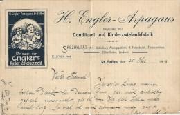 """Briefkopf  """"Engler-Arpagaus, Kinder Zwiebackmehl, St.Gallen""""               1913 - Switzerland"""