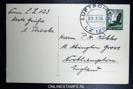 Graf Zeppelin LZ 127 1936, 2. Probefahrt 23.3.36 Sieger 0344II  Bordpost - Luftpost