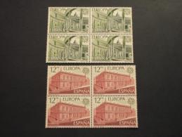 SPAGNA - 1978 EUROPA 2 Valori, In Quartine(blocks Of Four) - NUOVI(++) - Nuovi