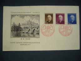 Cover Red Commemorative Postmark PRAHA HRAD NOVA USTAVA CS. REP. 9.V. 1949 Stamp Benes Mi 529-531 - POF 464-466 - Lettres & Documents