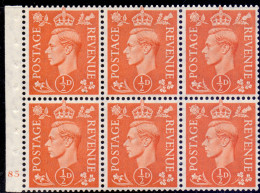 Great Britain 1951 King George VI Pane CYL 85 503d - 1902-1951 (Re)