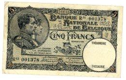 5 Francs Type Albert Et Elisabeth, 13 Avril 1931,  R13 001378 - Belgium