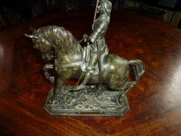 """Ancienne Statue Jeanne D Arc Recule """"Dieu Le Veult"""" CH. Perron - Sculptures"""