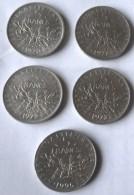 CINCO MONEDAS DE 5 FRANCOS FRANCESES. CON AÑOS DIFERENTES - J. 5 Francos