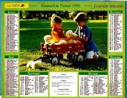 ALMANACH DU FACTEUR.1995 (54) - Complet ** ENFANTS ET CHIOTS - ENFANTS ET CHATON ** - Edit :JEAN CARTIER BRESSON N°/ - Calendriers