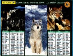ALMANACH DU FACTEUR.1999 (70) - Complet **3 VUES LOUPS - 3 VUES OURS ** - Edit :JEAN CARTIER BRESSON N°/ - Calendriers