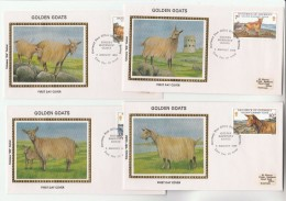 SET Of 4 Special SILK FDC GUERNSEY GOATS Goat Stamps Cover - Guernsey