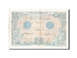 France, 20 Francs, 20 F 1905-1913 ''Bleu'', 1912, 1912-03-28, KM:68b, SUP, Fa... - 1871-1952 Circulated During XXth