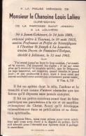 JOLIMONT JUMET LA LOUVIERE Chanoine Louis LALIEU Curé-doyen Fontaine-l'Evêque 1889-1962 Souvenir Mortuaire - Overlijden